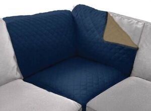 "Sofa Shield Reversible Sofa Corner Sectional Protector 30x30"" Pets Navy/Sand NEW"