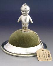 RARE WWI SILVER PLATED KEWPIE & HELMET PIN CUSHION c1910 NEEDLE WORK SEWING