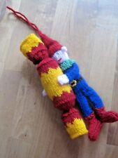 HAND KNITTED XMAS CRACKER ELF TREE DECORATION? 9 INCHES TALL