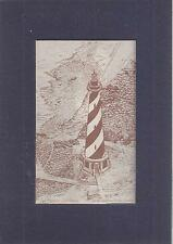 Obx Cape Hatteras Lighthouse Nc Matted Pen & Ink Art Drawing North Carolina