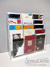 Espositore porta cartoline in plexiglas 15 tasche da banco