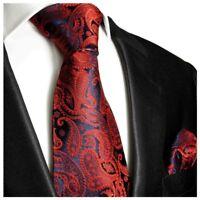 Paul Malone Krawatte 2tlg rot blau paisley Seidenkrawatte + Einstecktuch 464