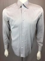 Men's Jade Blue Metal Medium Silver Gray Blue Pin Striped 15 3/4 L/S Shirt