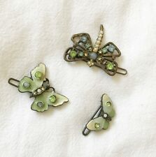 🔴 Set of 3 Gorgeous Hand-Painted Enamel with Rhinestones Hair Barrettes Pins