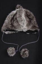 Grey&White Ushanka Hat Warm Lining&Wolf Fur Imitation Dangling Pom-Poms (S100)
