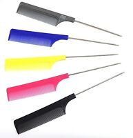 2 x Hairdressers Barbers Metal Pin Tail Comb Rat Tail Comb For Styling 5 Colours