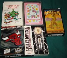 Lot of 5 Different Playing Cards Chicago Bulls Christmas Dino Harley Hello Kitty