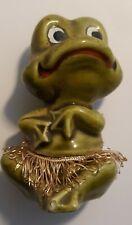 Frog Enesco Japan Hula Skirt Grass Hawaii E-8965