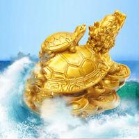 Feng-Shui Drachen Schildkröte Gold Harz Statue Figur Chinesisch Glück