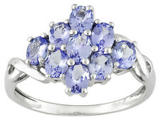 1.30 CTW OVAL TANZANITE RING  SET IN  925 STERLING SILVER ~  SZ 9