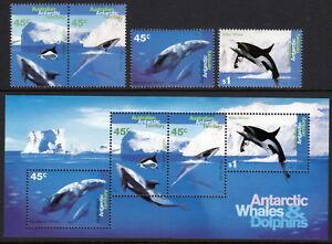 AAT 1995 Whales & Dolphins set & souvenir sheet