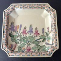 Vintage Asian Style  Hand Painted Square Multicolor pastel dish porcelain-China