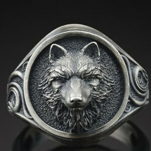 Men's Personalized Black Silver Wolf Ring Punk Jewelry Party Boyfriend Gift 7-13