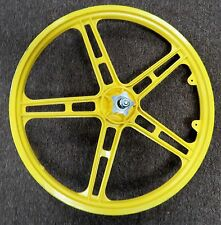 BMX Mag Wheel 20 in Front for Old Mid School Bike Yellow Metal 3/8 in Axle