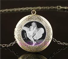 Vintage Sexy Marilyn Monroe Cabochon Glass Brass Locket Pendant Necklace