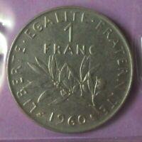 1 franc Semeuse 1960 petit 0 : SUP : pièce de monnaie française N21
