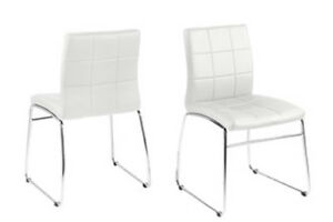 Pair of Leather Look Dining Chairs in White or Black PU seats and Chrome Legs
