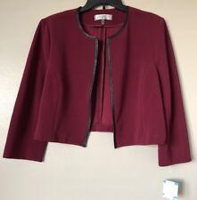 Kasper Womens Plus Size 16 Burgundy Open-Front Blazer Jacket NWT
