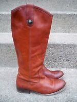 Frye #77167 Melissa Button Leather Women's Motorcycle Riding Cognac Tall Boots 6