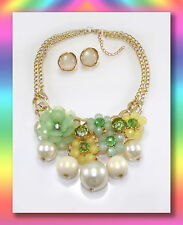 Women's European Style Resin Flower Statement Pearl Necklace  and earings