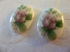 Vintage Pink Rose Cameos 18X13mm on Glass Cabochons Chalkwhite Base - Qty 2