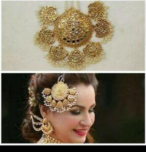 Indian Gold Tone Big Size  Jhomar Head piece Jhoomer Jhumer Bridal  Passa