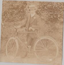 Vintage Black & White Photo Man In Suit and Hat Standing Next To Bike Bicycle
