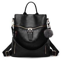 Soft Woman Black Faux Leather Backpack Shoulder Travel HandBag