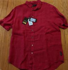 $275 Mens Emporio Armani Garment Dyed Linen Short Sleeve Button Up Shirt Red XL