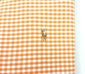 Polo Ralph Lauren Oxford Orange Gingham Check Long Sleeve Shirt XL Classic Fit