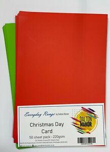 DALTON MANOR CARD XMAS DAY PACK BRIGHT RED / GREEN 50 SHEET 220GM -S8