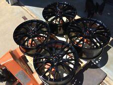 Black 19x8.5 20x10 C7 Z06 R Corvette Wheels 2014 - 2019 Stingray Z51 GM Caps WOW