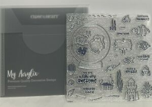 CTMH Close To My Heart O-FISH-ALLY AWESOME Fish Bowl Fish Rubber Stamps Set