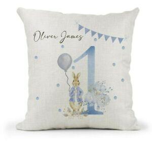 Personalised Boys 1st Birthday Gift Peter Rabbit Cushion Son Grandson Nephew