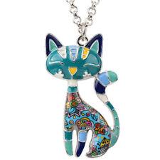 Enamel Alloy Blue Cat Kitten Necklace Pendant Choker For Women Pets Jewelry Gift