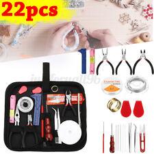 22PCS Jewelry Making Kit Repair Tool Set Supplies Pliers Finding
