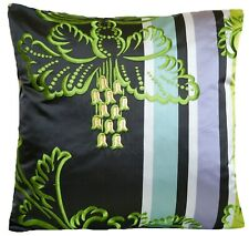 """Embroidered Cushion Cover Designers Guild Silk Tosca Fabric Gold Green Black 16"""""""
