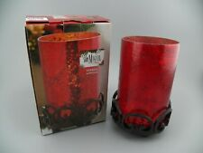 San Miguel Corona Hurricane Candle Holder Antique Red~Rustic Iron Base India NOB