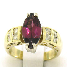 14k Yellow Gold QUALITY Marquise Rubellite Tourmaline Channel Round Diamond Ring