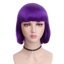 Short Bob Wig Purple Straight Full Wig Heat Resistant Women Cosplay Wigs Costume