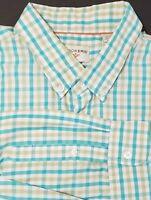 Dockers Mens Size XL Aqua Tan White Checked Long Sleeve Button Up Shirt
