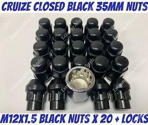 Black Alloy Wheel Nuts 20 + Locks M12x1.5 Ford Expedition Ranger Jeep Wildtrak