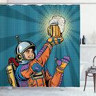 Astronaut Shower Curtain Astronaut Holds Beer Print for Bathroom