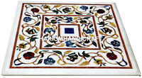 White Marble Coffee Side Table Top Multi Stone Marquetry Floral Inlay Arts H2979