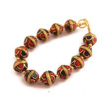 Coral Lapis Brass 12 Beads Tibetan Nepalese Handmade Tibet Nepal UB2522