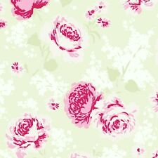 Rachel Ashwell Ballet Rose Pink Large Rose Cluster on White & Green Fabric - FQ