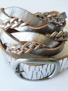 Fossil Womens Brown Silver Metallic Braided Leather Size Large Waist Belt Casual