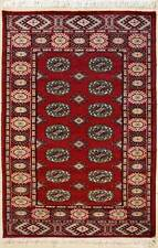 Rugstc 3x5  Bokhara Jaldar Red Area Rug,Genuine Hand-Knotted, Wool Pile