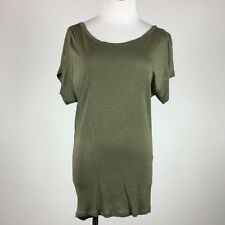 Soprano womens stretch knit top green drape neck size M cap sleeve