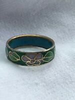 Estate Green Enamel w Pink Flower Cloisonne Gilt Accented Band Ring Size 6.75 –